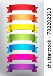 set of 7 blank ribbon banners... | Shutterstock .eps vector #782202313