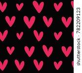 pink heart seamless pattern.... | Shutterstock .eps vector #782209123