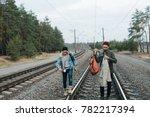 young men with backpacks in... | Shutterstock . vector #782217394
