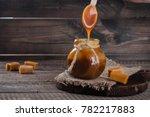 homemade salted caramel sauce... | Shutterstock . vector #782217883