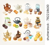 set of cups  kettles and... | Shutterstock .eps vector #782218630