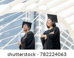 graduate students looking at sky | Shutterstock . vector #782224063