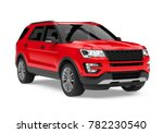 red suv car isolated. 3d... | Shutterstock . vector #782230540