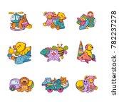 vector set of kid toys piles...   Shutterstock .eps vector #782237278