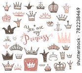 hand drawn various crowns set ... | Shutterstock .eps vector #782238469