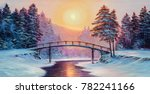 winter landscape with the river.... | Shutterstock . vector #782241166
