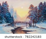 winter landscape with the river.... | Shutterstock . vector #782242183