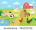 farm animals with landscape  ... | Shutterstock .eps vector #782252740