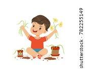 cute little bully boy sitting... | Shutterstock .eps vector #782255149