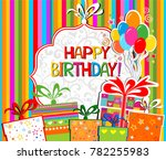 happy birthday  greeting card.... | Shutterstock . vector #782255983