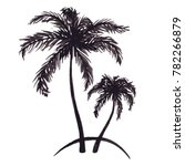 monochrome two tropical palm... | Shutterstock . vector #782266879