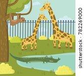 funny sloth  giraffe and... | Shutterstock .eps vector #782269000
