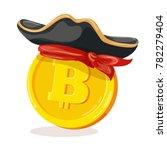 bitcoin in pirate hat. cartoon... | Shutterstock .eps vector #782279404