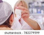 doctor makes a bandage of young ... | Shutterstock . vector #782279599