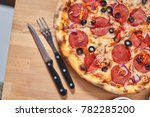 hot delicous pepperoni pizza on ...   Shutterstock . vector #782285200