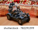 santa claus on the car carries... | Shutterstock . vector #782291599