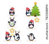 cute penguins. great christmas... | Shutterstock .eps vector #782308894
