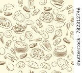 beautiful  pattern for a cafe... | Shutterstock .eps vector #782312746