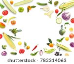 various vegetables and fruits...   Shutterstock . vector #782314063