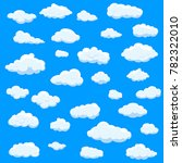 clouds set isolated on blue... | Shutterstock .eps vector #782322010