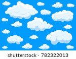 clouds set isolated on blue... | Shutterstock .eps vector #782322013
