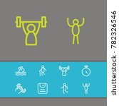 exercise icons set with athlete ...