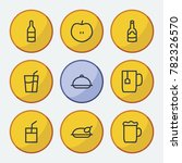 nutrition icons set with juice  ...