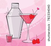 pretty pink and red valentine... | Shutterstock .eps vector #782334040
