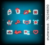 mail  photo frame  key neon...   Shutterstock .eps vector #782348050