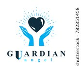 caring hands hold heart as the...   Shutterstock . vector #782351458