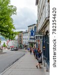Small photo of Quebec City, Quebec / Canada - 01 August 2015: A grey street with some tourists in the old town of Quebec City.