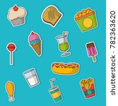 fast food icon set design | Shutterstock .eps vector #782363620