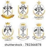 vintage weapon emblems set.... | Shutterstock . vector #782366878