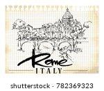 rome illustration. hand drawn... | Shutterstock .eps vector #782369323