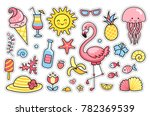 flamingo  jellyfish  sun  cute... | Shutterstock .eps vector #782369539