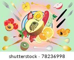 illustration with fruit pieces... | Shutterstock .eps vector #78236998