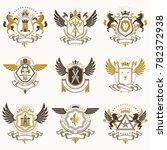 vintage heraldic coat of arms... | Shutterstock . vector #782372938