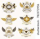 vintage decorative heraldic... | Shutterstock . vector #782372956