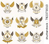 collection of heraldic... | Shutterstock . vector #782373010