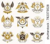 collection of heraldic... | Shutterstock . vector #782373028