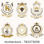 set of vintage emblems created... | Shutterstock . vector #782373058