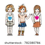 little girls cute children... | Shutterstock . vector #782380786