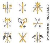vintage weapon emblems set.... | Shutterstock . vector #782385310