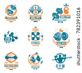 set of fitness workout and... | Shutterstock . vector #782391016