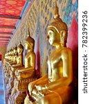 line of golden buddha statues... | Shutterstock . vector #782399236