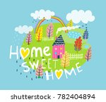 home sweet home quote lettering.... | Shutterstock .eps vector #782404894