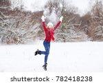 winter lifestyle portrait of... | Shutterstock . vector #782418238