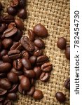 Small photo of coffee beans, rustic style, Brazilian morning, burlap, fragrant drink, energy drink