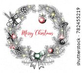 merry christmas text decorated...   Shutterstock . vector #782455219