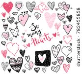 funny doodle hearts icons... | Shutterstock . vector #782455858